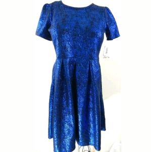 Lularoe Amelia Elegant Blue Metallic Foil